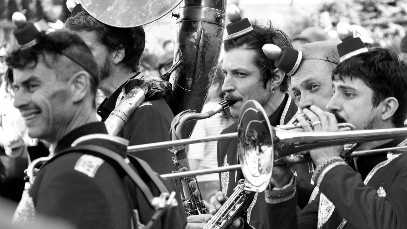 Arts Culture And Entertainment Blackandwhite Photography Event Fanfare Large Group Of People Marching Band Music Musical Instrument Musician Performance Playing Real People Wind Instrument