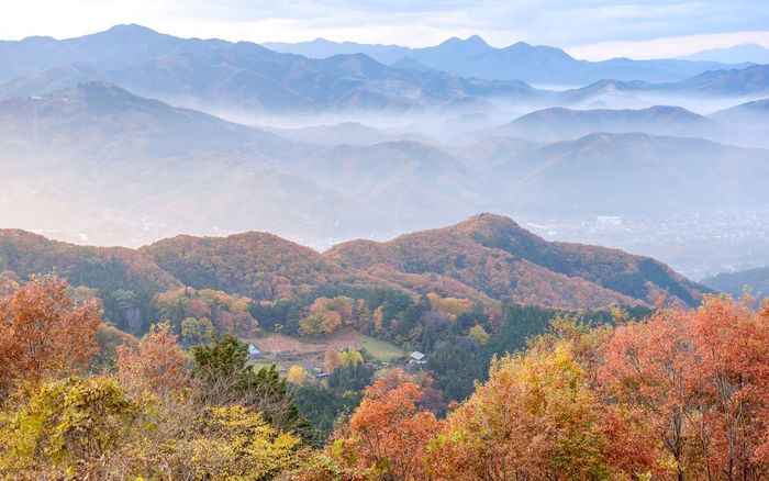 Sunset view from Nagatoro Mountains in Saitama, Japan. Mountain Mountain Range Beauty In Nature Landscape Scenics Tranquil Scene Sky Clouds And Sky Japan Japan Photography 長瀞 夕焼け 秋 Autumn Colors Autumn🍁🍁🍁