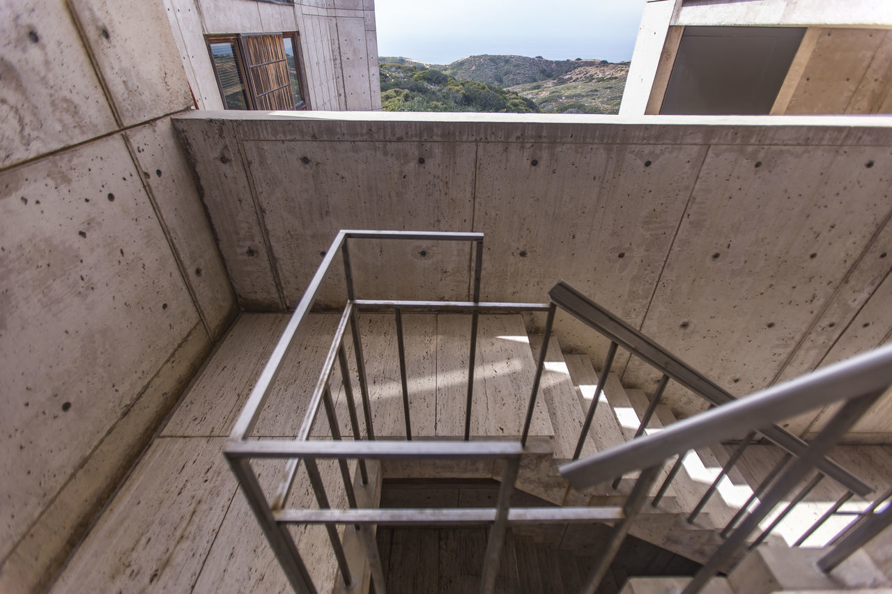 Architecture Built Structure Cali California Close-up Day Education Hand Rail High Angle View Indoors  No People Railing Salk Institute  Sky Southern California Staircase Steps Steps And Staircases Window