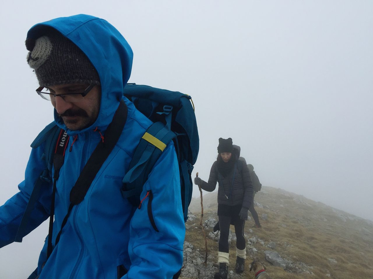 Luka approaching summit of Snjeznik (1505 m), strong wind and low visibility, Croatia, 2017. Hiking Visibility Wind Outdoors Cold Temperature Leisure Activity Adventure Lifestyles Snjeznik Croatia Blue Documentary