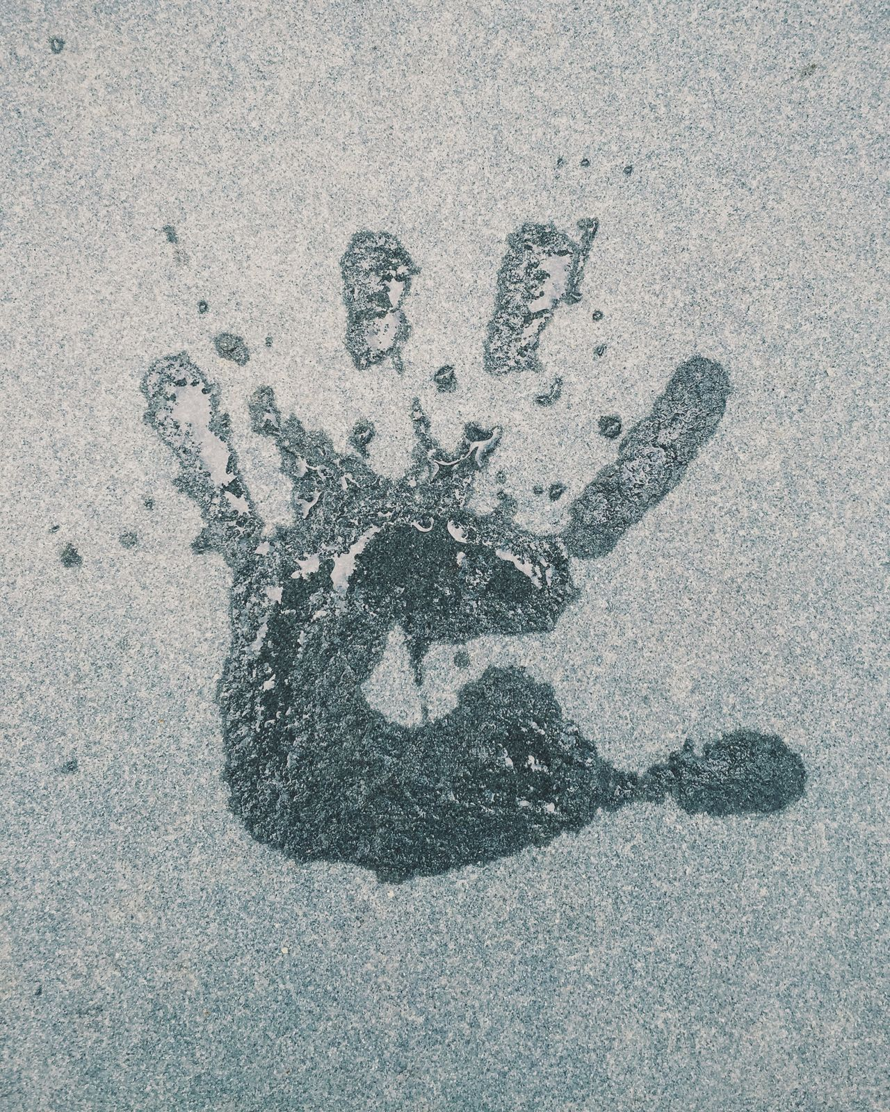 Handprint Water Wet Slash  Splatter Five Fingers Concrete