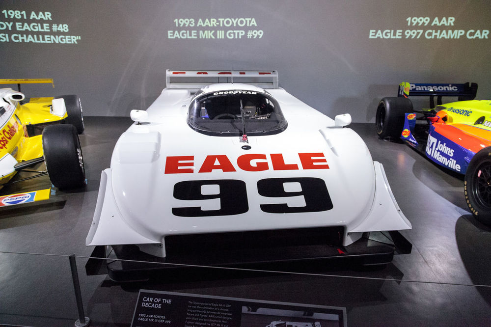 Los Angeles, CA, USA - March 4, 2017: White 1993 AAR-Toyota Eagle MK III GTP number 99 at the Petersen Automotive Museum in Los Angeles, California, United States. Editorial only. 1993 AAR EAGLE Classic Car Close-up Cockpit Day Eagle Gtp Indoors  MK III No People Number 99 Old Car Petersen Automotive Museum Text Toyota Vintage Cars