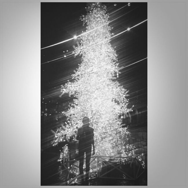 South African Christmas. Ice Cream in one hand infront of this beautiful Christmas Tree Black And White