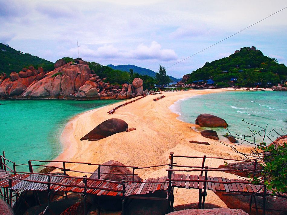 Koh Nangyuan, Thailand Water Beach Scenics Mountain Sea Tranquility Tranquil Scene Nature Beauty In Nature Cloud - Sky Non-urban Scene Rock Formation Coastline Bridge - Man Made Structure Thailand Koh Nangyuan EyeEm Nature Collection The Nature Of Eyeem No People Showcase October The Week Of Eyeem Fresh On Eyeem  My Point Of View Check This Out Personal Perspective Finding New Frontiers