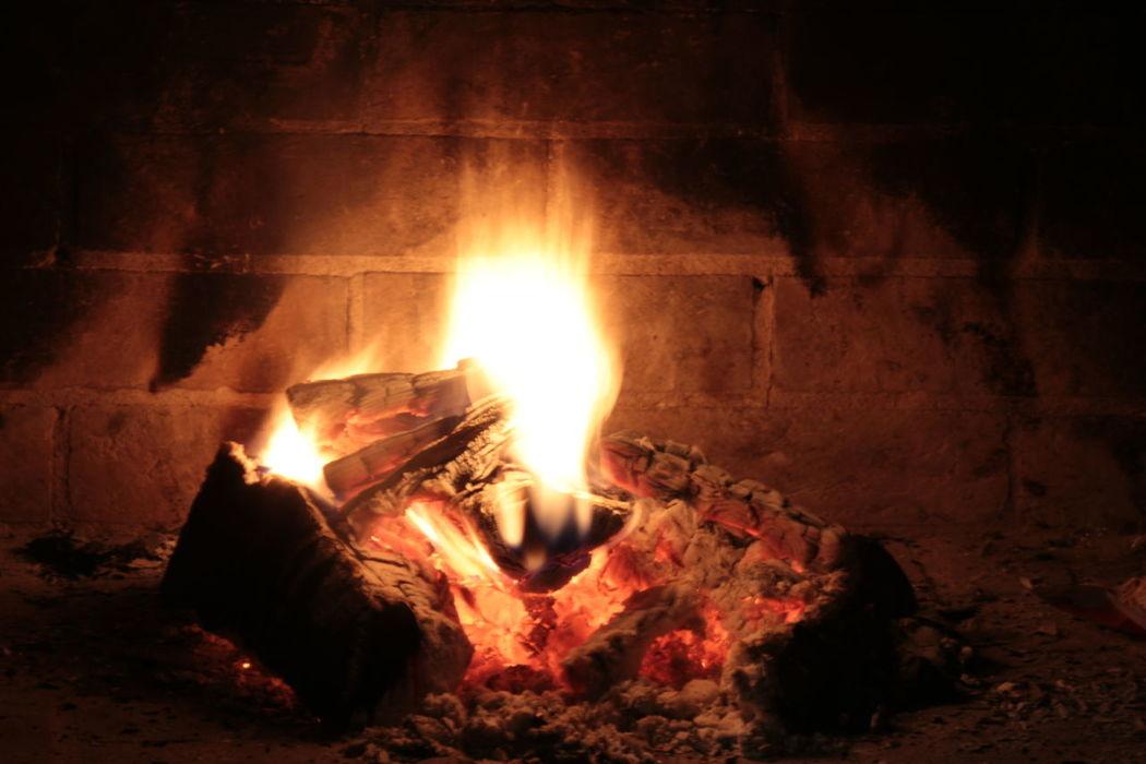 Burning Burning Wood Fire Fireplace Flame Glowing Heat Heat - Temperature Long Exposure Night Warm