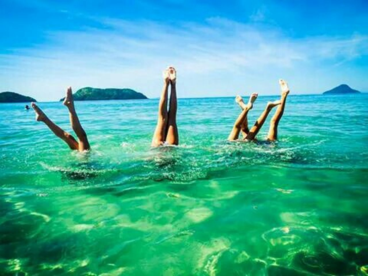 fun, vacations, blue, summer, sea, enjoyment, females, nature, people, leisure activity, outdoors, sky, relaxation, beauty, togetherness, beauty in nature, day, party - social event, beach, cheerful, adult, human body part, women, water, happiness, beautiful people, young adult, swimming pool, friendship, adults only