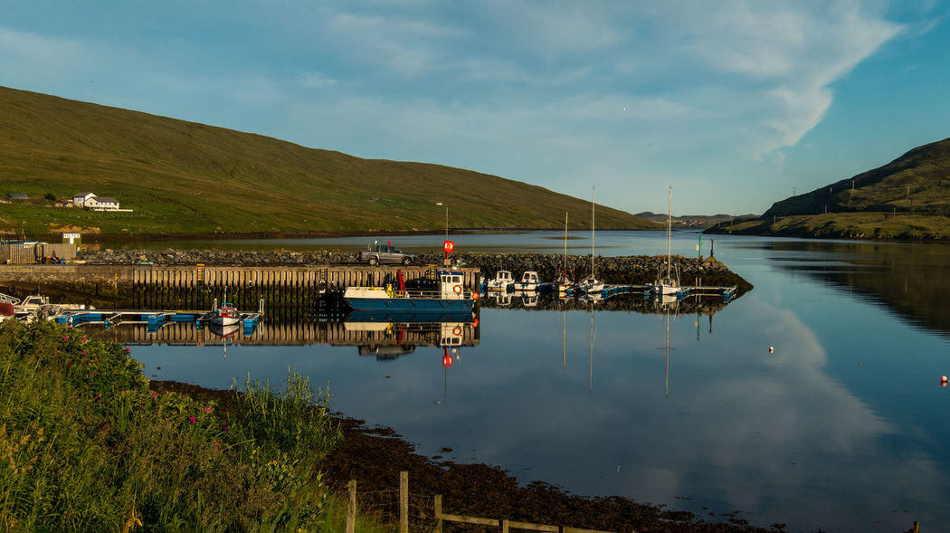 The harbour of Voe Shetland Boats Harbour Harbours Lake Landscape Lochs Nature Outdoors Reflection Scotland Shetland Sky Water