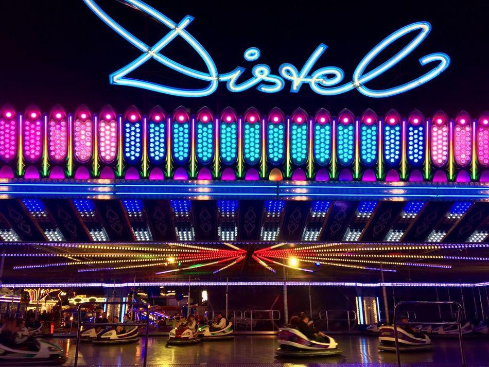 Scooter Auto Theme Park Festival Oktoberfest Multi Colored Illuminated Colorful Night Lights