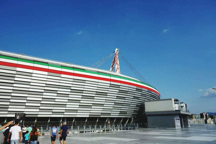 Juventus Juve Juventusstadium Torino Italia Travel Destinations Travel Blue Tourism Architecture Day Vacations Sky Flag Sport Outdoors Built Structure People City Adults Only Adult