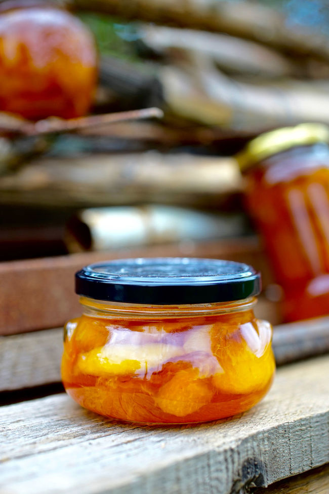 Autumn Autumn Colors Jar Jars  Jam Peach Jam Wood - Material Peaches Fruit Ready-to-eat Food Food And Drink Focus On Foreground Orange Color Beauty In Nature Selective Focus