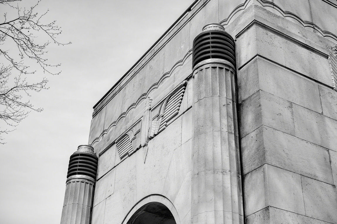 One of the booths at the entrance to the Queensway Tunnel Architecture Architectural Detail Architecture_bw Architecturelovers Art Deco Art Deco Architecture Egyptomania Egyptian Revival Black And White Monochrome The Architect - 2016 EyeEm Awards