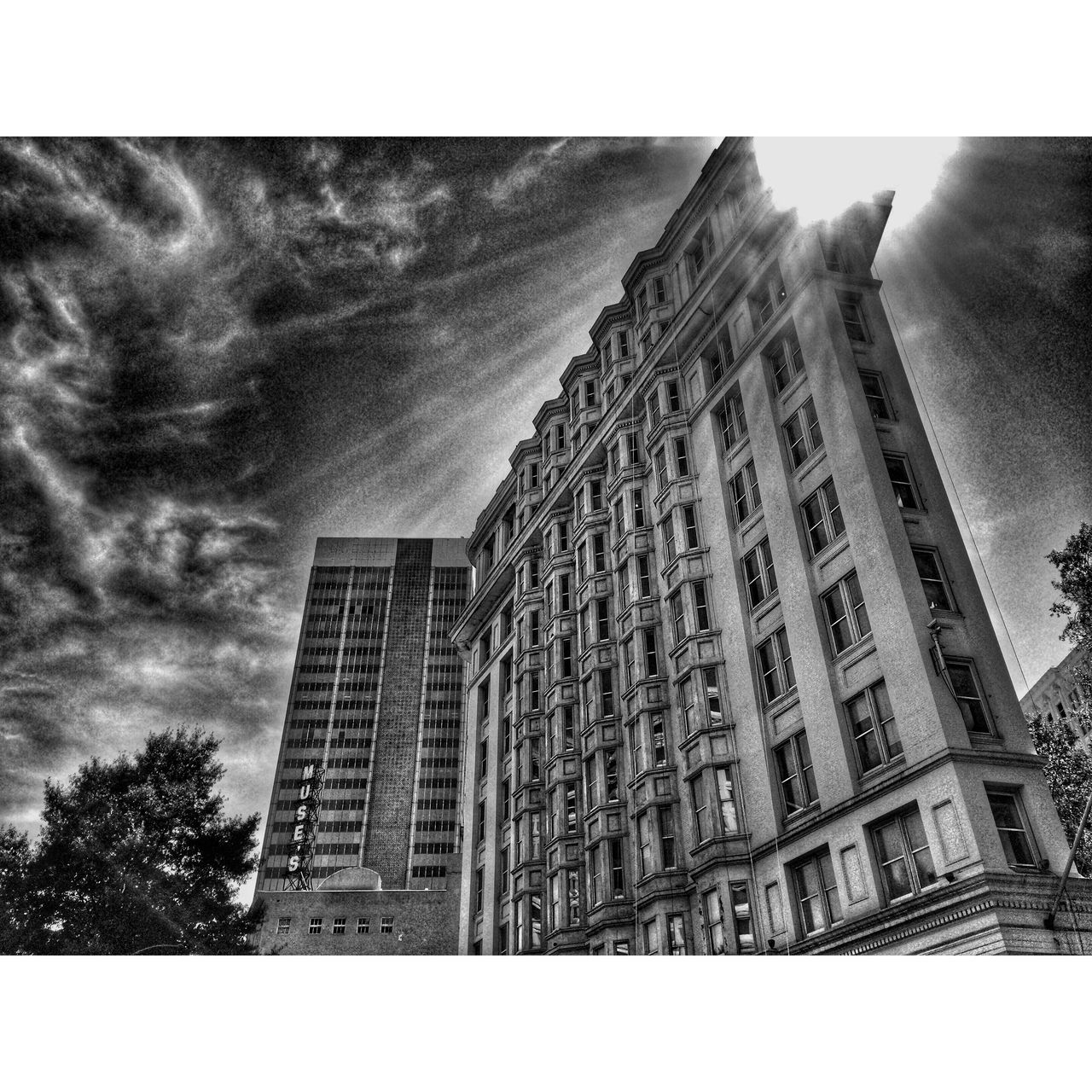 architecture, building exterior, sky, low angle view, city, outdoors, no people, day