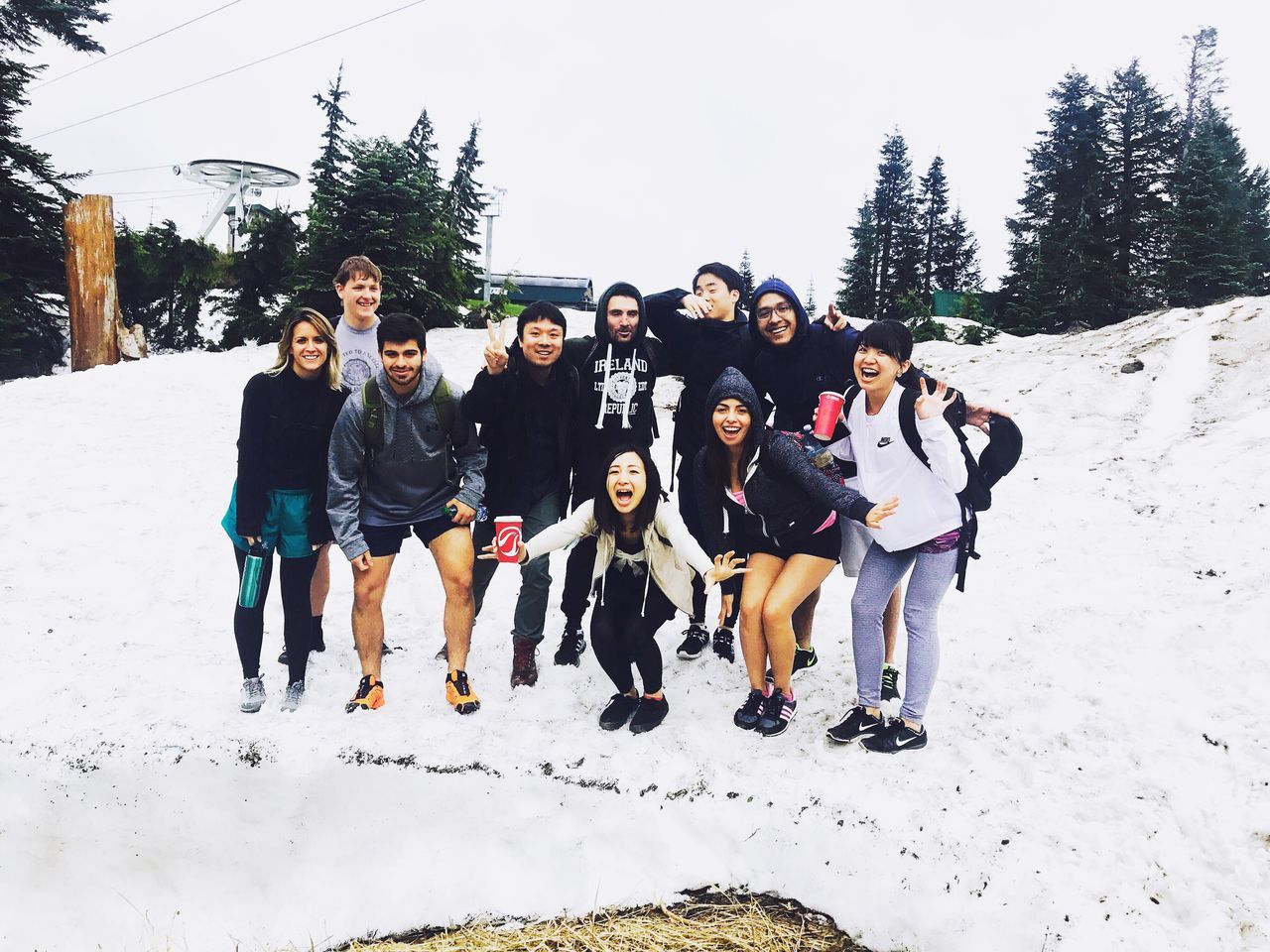 snow, winter, real people, cold temperature, outdoors, day, leisure activity, fun, large group of people, lifestyles, nature, tree, full length, friendship, sky, mammal