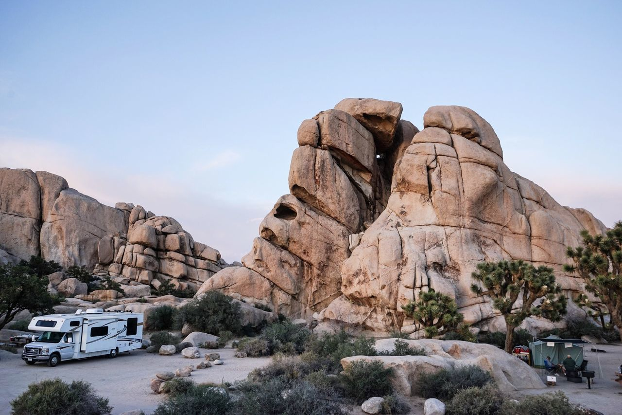 Neighbors Campground California Jumbo Rock Rocks Joshua Tree National Park Desert Outdoors Outdoor Photography Traveling Tranquil Scene Motorhome Tent Camping Dawn Rest California Love Finding New Frontiers The Great Outdoors