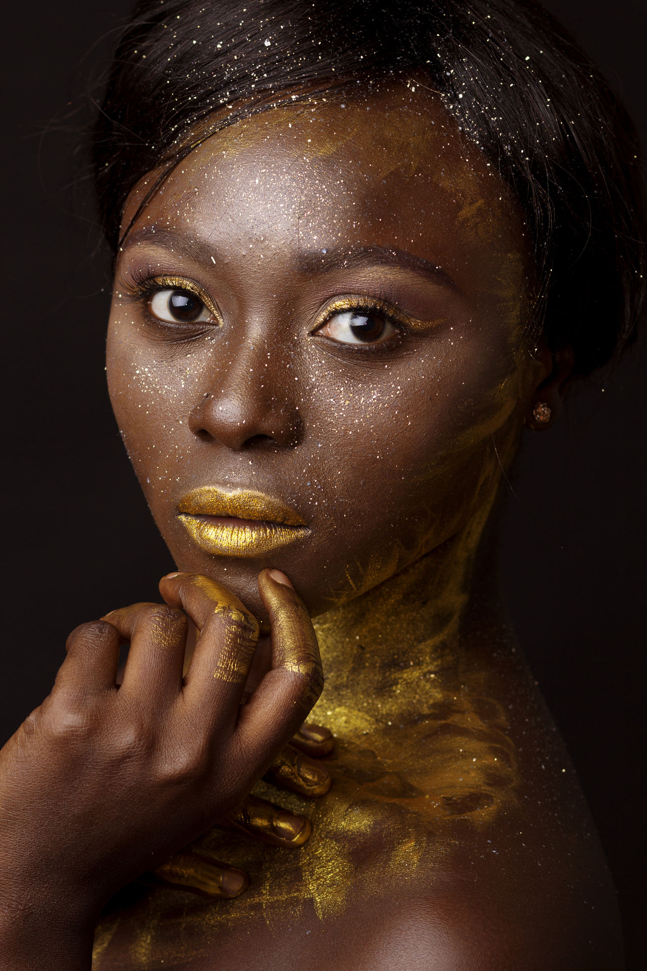 Beauty Editorial  Elégance Fashion Fashion Model Females Glamour Gold Gold Colored Headshot Human Body Part Human Face Looking At Camera Portrait Shine Shiny Studio Shot Yellow