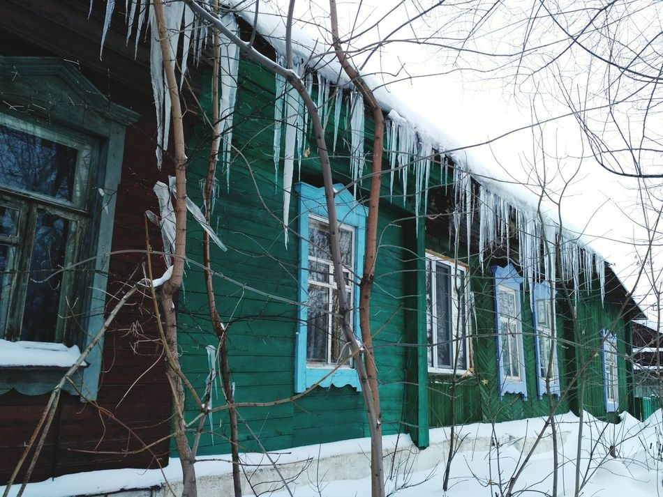 No People Cold Temperature Built Structure Nature Architecture Outdoors Snow Winter Day Icicles Icicle Provincetown  Province Village Woodenhouse Wintertime Snow Covered Wood Winter Ufa Ufa Russia Уфа зима сосульки снег