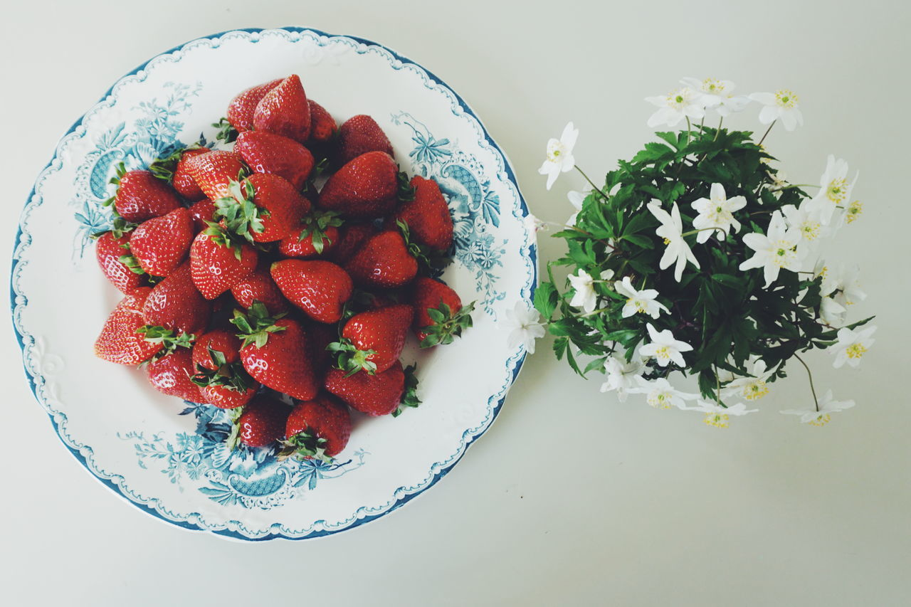 Strawberries and Wood anemones Close-up Day Directly Above Flower Flowers Food Food And Drink Freshness Fruit Healthy Eating Indoors  Nature No People Plate Ready-to-eat Red Spring Strawberries Strawberry Summer Table Wood Anemone