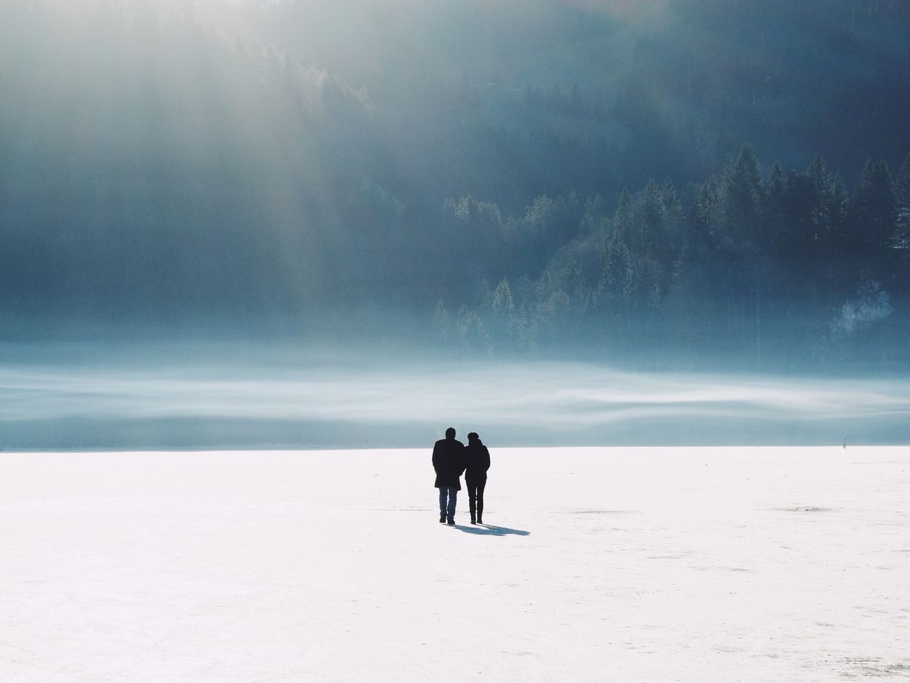 Nature Winter Real People Snow Outdoors Scenics Cold Temperature Beauty In Nature Rear View Landscape Togetherness Frozen Frozen Lake Cold Walking at Schwarzsee Switzerland