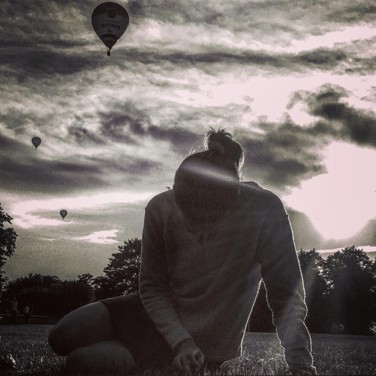 Blissfully unaware of the balloon fiesta overhead. BW Portrait Blackandwhite Balloons Hotairballoons Park Clouds Clouds And Sky Balloonfiesta  Bristol