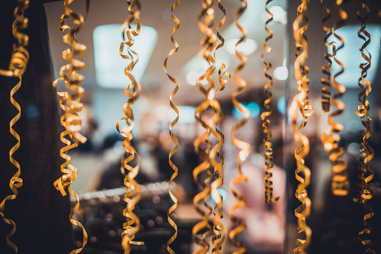 Christmas Golden Ribbon Backgrounds Close-up Curly Decoration Decorative Full Frame Hanging No People Raffia Raffia Background Ribbons Spiral EyeEm Ready