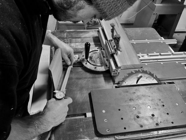 Man Working Precision Woodworking Instruments Table Saw Labor Of Love Blackandwhite IPhoneography Workshop