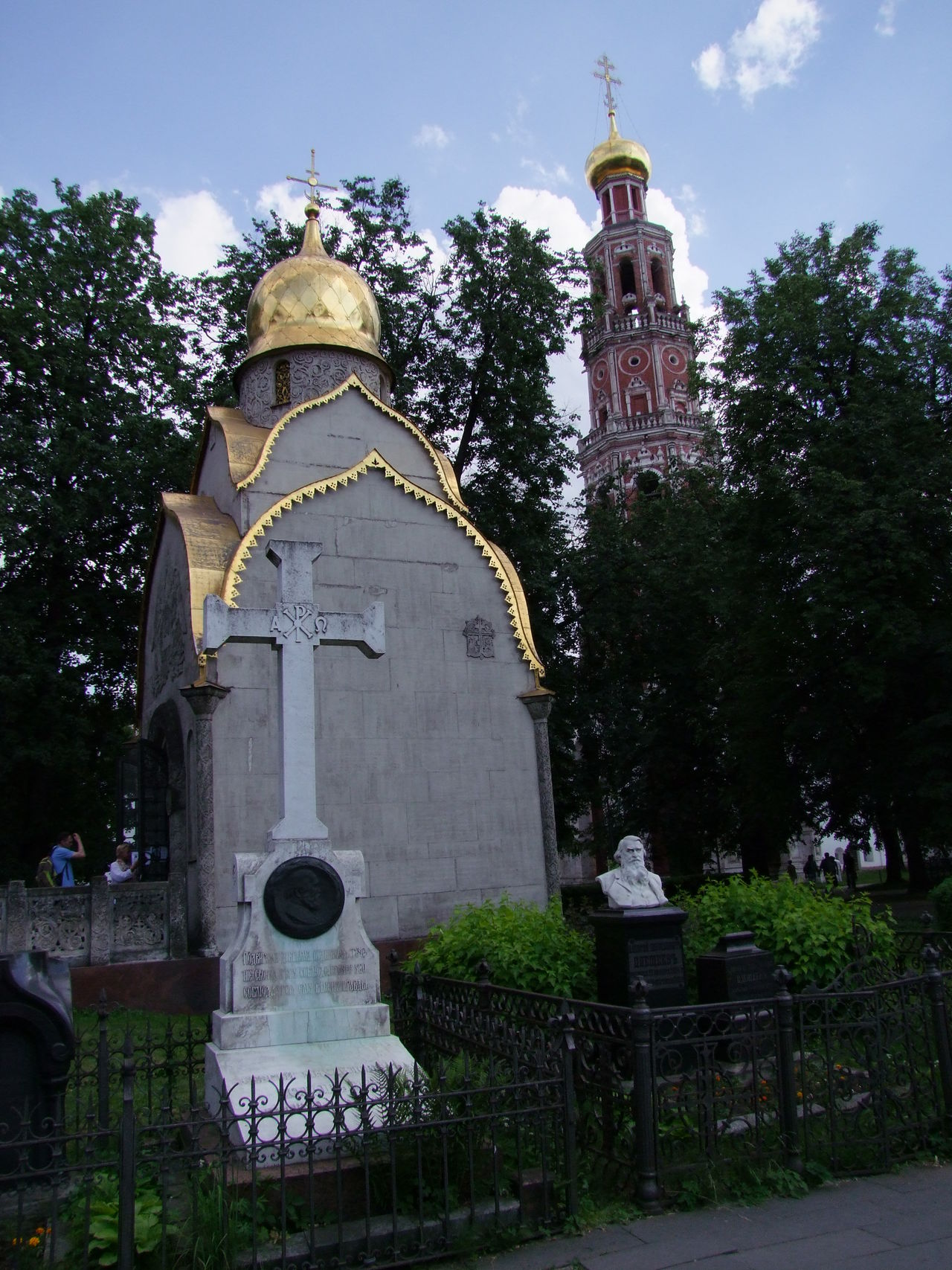 Tomb & Bell Tower (1690), Novodevichy Monastery Architecture Bell Tower Blue Sky White Clouds Building Exterior Built Structure Cathedral Church Day Famous Place Gold Domes Historic History International Landmark Moscow Nompeop Novodevichy Monastery Outdoors Place Of Worship Religion Russia Spirituality Tomb Tower Towers Trees