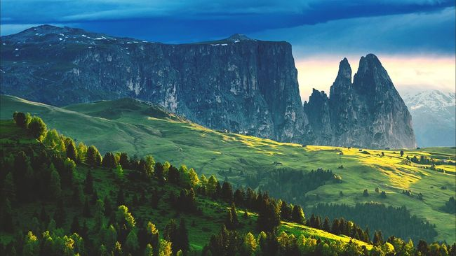 Backgrounds Landscape Beauty Sky Sunset Mountain Mountain Peak Outdoors Pinaceae Green Tree Forest Horizontal Freshness Majestic Awesome_shots