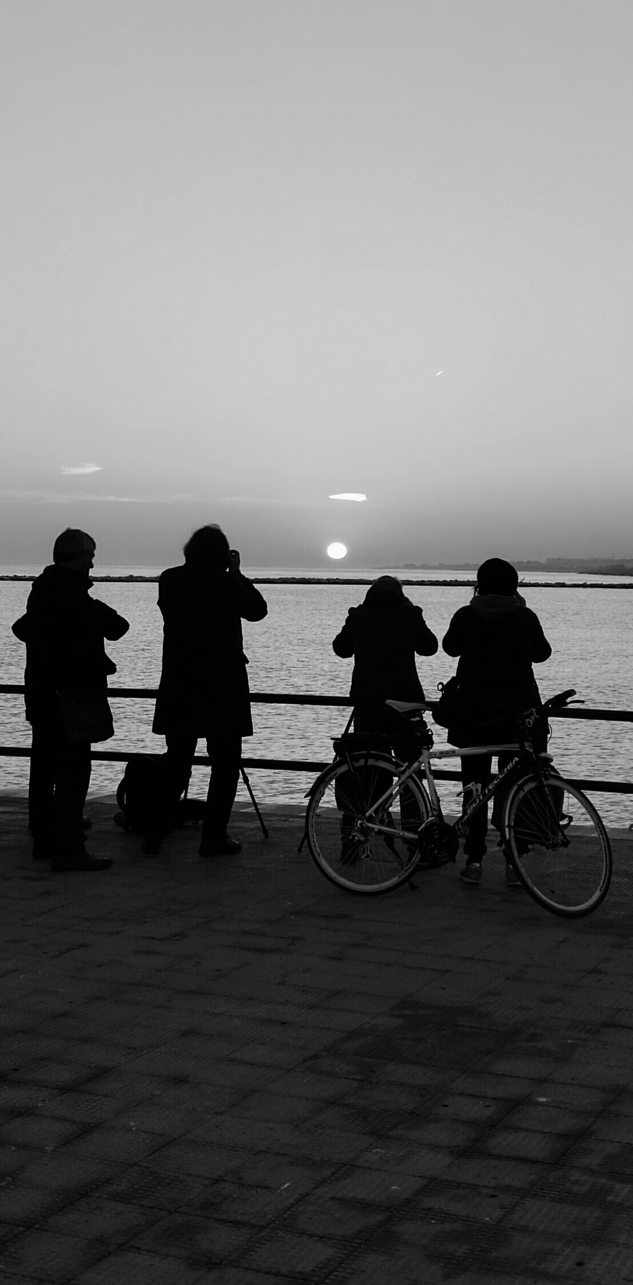 Silhouette People Bicycle Outdoors Sea Sunrise Sunrise_Collection Waiting For The Sun Waiting For The Sunrise BYOPaper! EyeEmNewHere The Photojournalist - 2017 EyeEm Awards