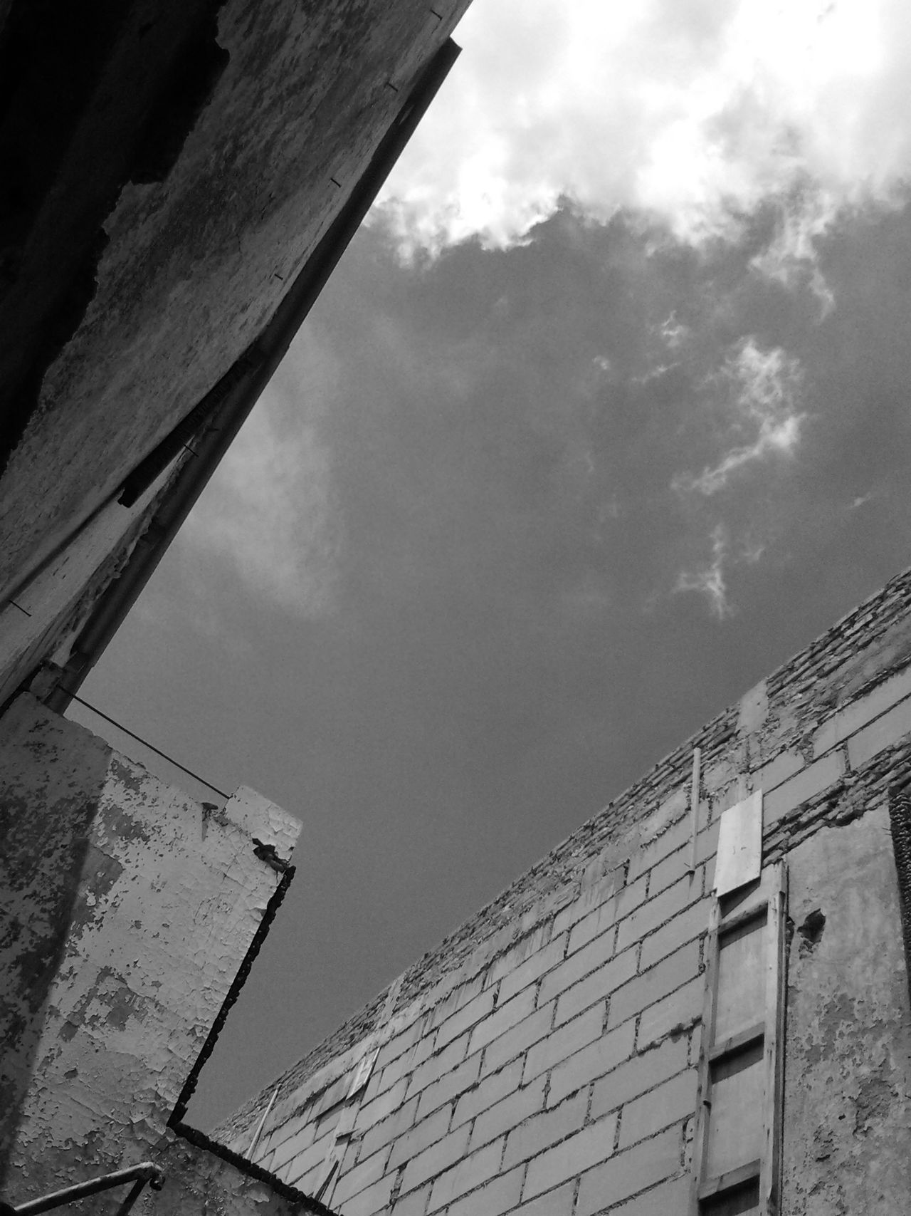 Architecture Blackandwhite Blackandwhite Photography Building Exterior Built Structure Cloud - Sky Day Low Angle View Nature No People Outdoors Roof Sky Wall Wall - Building Feature