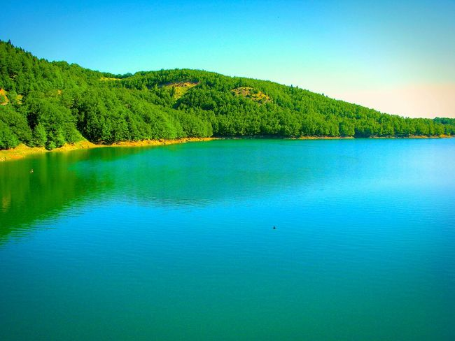 Landscapes With WhiteWall Lake Lake View Forest Forest And Lake Water Reflections Reflected Glory Trees Trees And Lake A Moment Of Zen... Blue Wave Tranquil Scene Shades Of Blue Nature Landscapes Beauty In Nature Landscape_Collection Beautiful Nature Greenery Mountain Mountain View Mountain And Lake Plastira Lake Karditsa  Greece