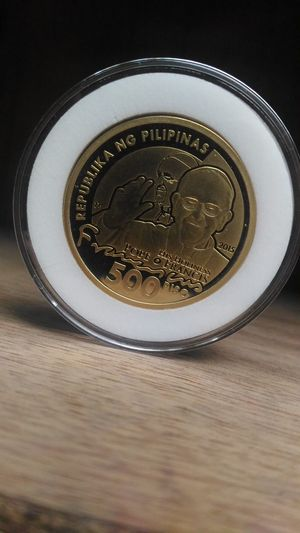 Pope francis, papal coin, limited edition, philippine peso, 500 pesos , 500 peso coin, collector's item, only in the philippines. No People WOW philippines, wow pinas, tatak pinoy, Indoors  Portrait Reflection Metal Circle gold,