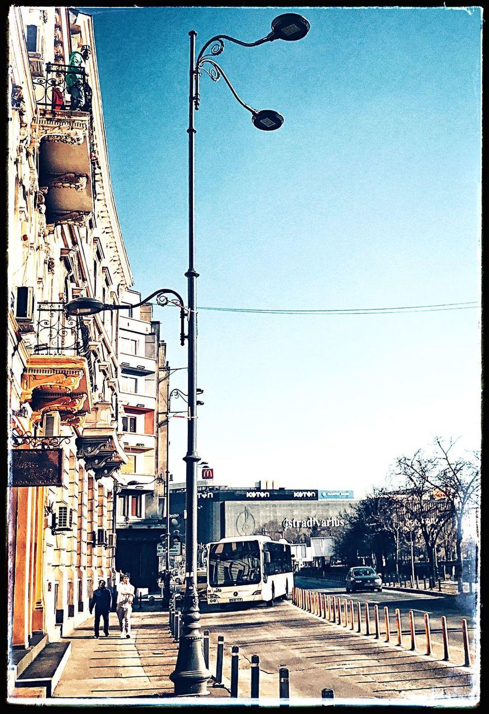 Sunny Day City Bus City Buildings Lamp Post Bucharest Piata Unirii Clear Sky Old Buildings