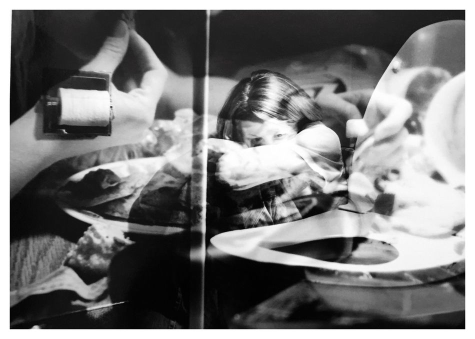 """Compulsions 4. From my series of 12 photos, entitled """"Addictions, Obsessions, Compulsions"""". Shot on Kodak TMax 100 film with my Canon EOS Rebel K2. [binge/purge] Compulsions Binge Eating Purging Conceptual Photography  Sandwiched Negatives Film Photography Double Exposure Story Photography Conceptual Image Contrast Conceptual Self Portrait Inspired By Cindy Sherman Cindy Sherman Blackandwhitephotography B&W_collection"""