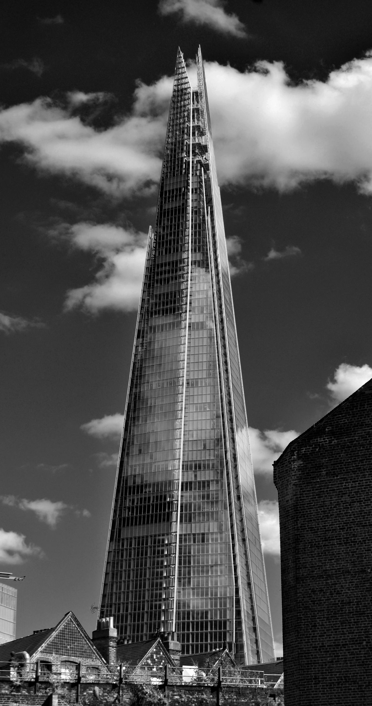 London United Kingdom Architecture No People Tower Sky City Built Structure Skyscraper The Shard Black And White Glass Travel Low Angle View Old And New
