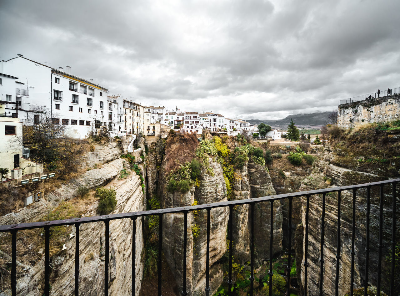 Picturesque view of Ronda city. Province of Malaga, Andalusia, Spain Ancient Architecture Andalusia Canyon Cliffs Cloud - Sky Costa Del Sol Europe Famous Place Hilltop History Houses Landmark Landscape Malaga Mountain Nature Nobody Outdoors Picturesque Village Rocky Mountains Ronda Spain SPAIN Town Travel Destinations Village