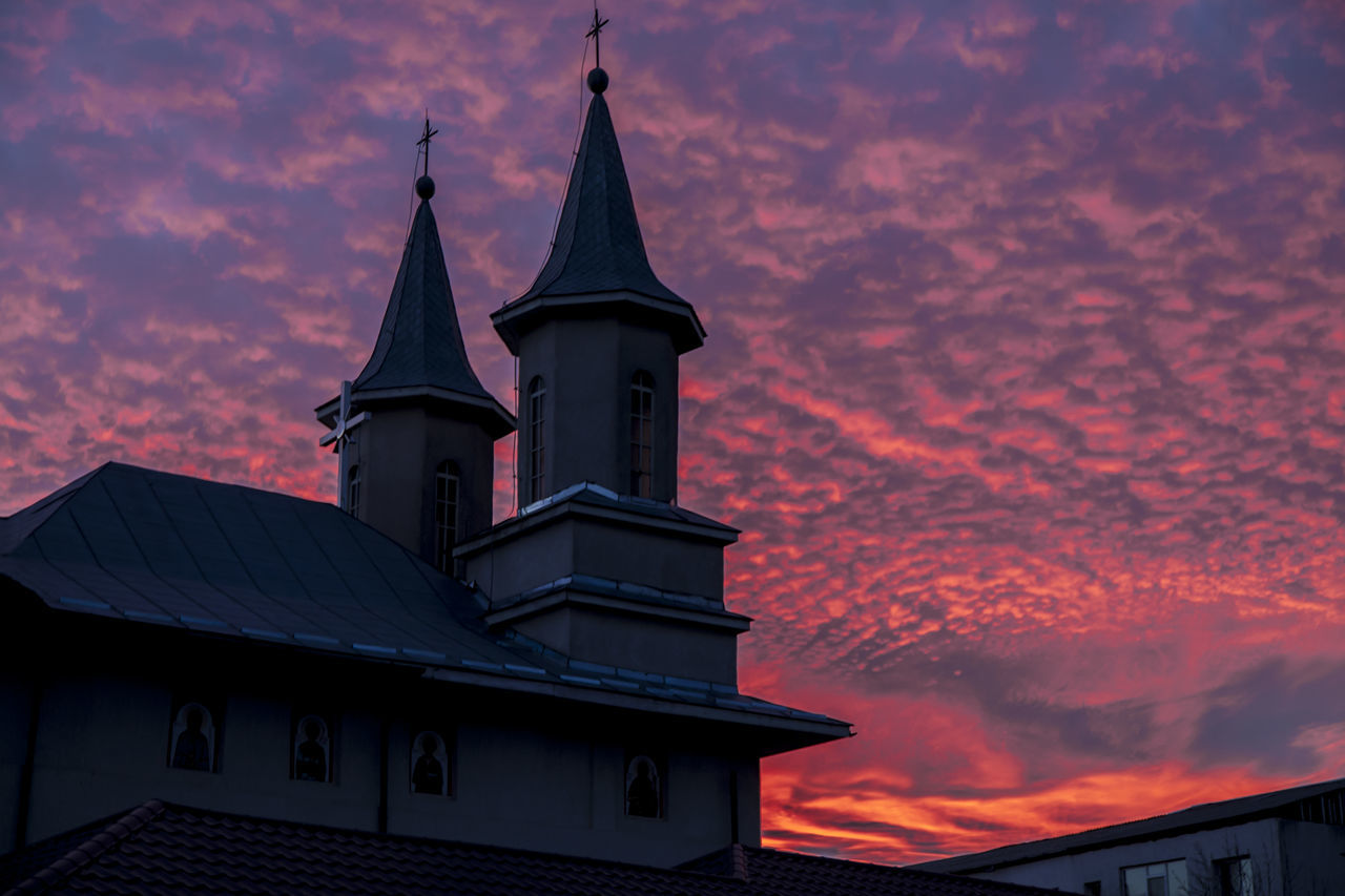 Architecture Building Exterior Built Structure Cloud - Sky Day Low Angle View Nature No People Outdoors Place Of Worship Red Sky At Sunset Religion Sky Spirituality Sunset Urban Reflections Nightphotography Dramatic Sky Nightshot