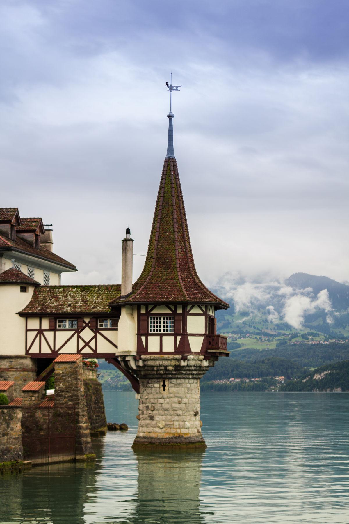 Schloss Oberhofen, Switzerland Architecture Built Structure Cloud Cloud - Sky Cloudy Day Nature No People Outdoors Overcast Rippled Schloss Oberhofen Sky Tourism Tower Tranquility Travel Destinations Water