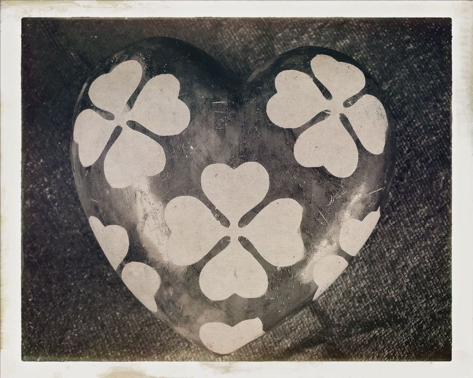 Cloverleaf Heart Love Cloverleaf Four Leaf Clover Photo Blackandwhite Black & White Romantic Luck Happy Vintage Retro Pattern Wedding Marriage  Greetings Card Postcard Frame Old Shape Beauty Sepia Girl Friendship Friend