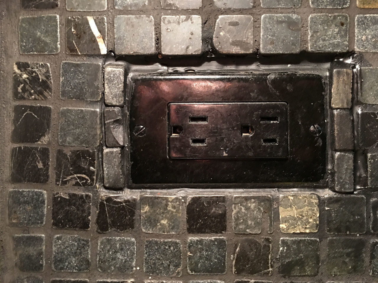 Black Close-up Electrical Electrical Outlet Grout No People Outlet Slate