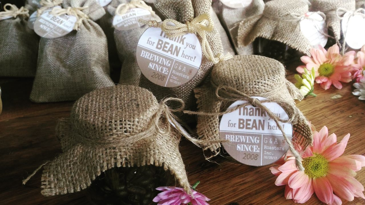 Rustic Rustic Wedding Sack Coffee Giveaways Burlap Burlap Sack Burlap Bag Jars