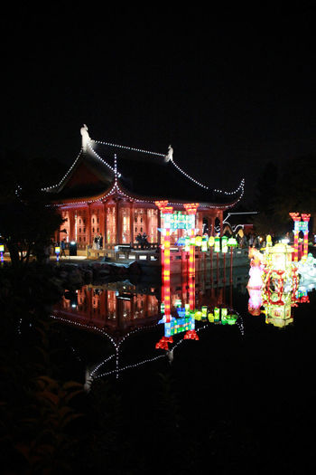 Architecture Botanical Gardens Building Exterior Chineese Lanterns Dark Decoration Gardens Of Light Illuminated Multi Colored Night Outdoors Water