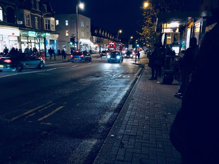 Commuting Dusk In The City Waiting For The Bus Waiting In Line Urban Night Street Upminster