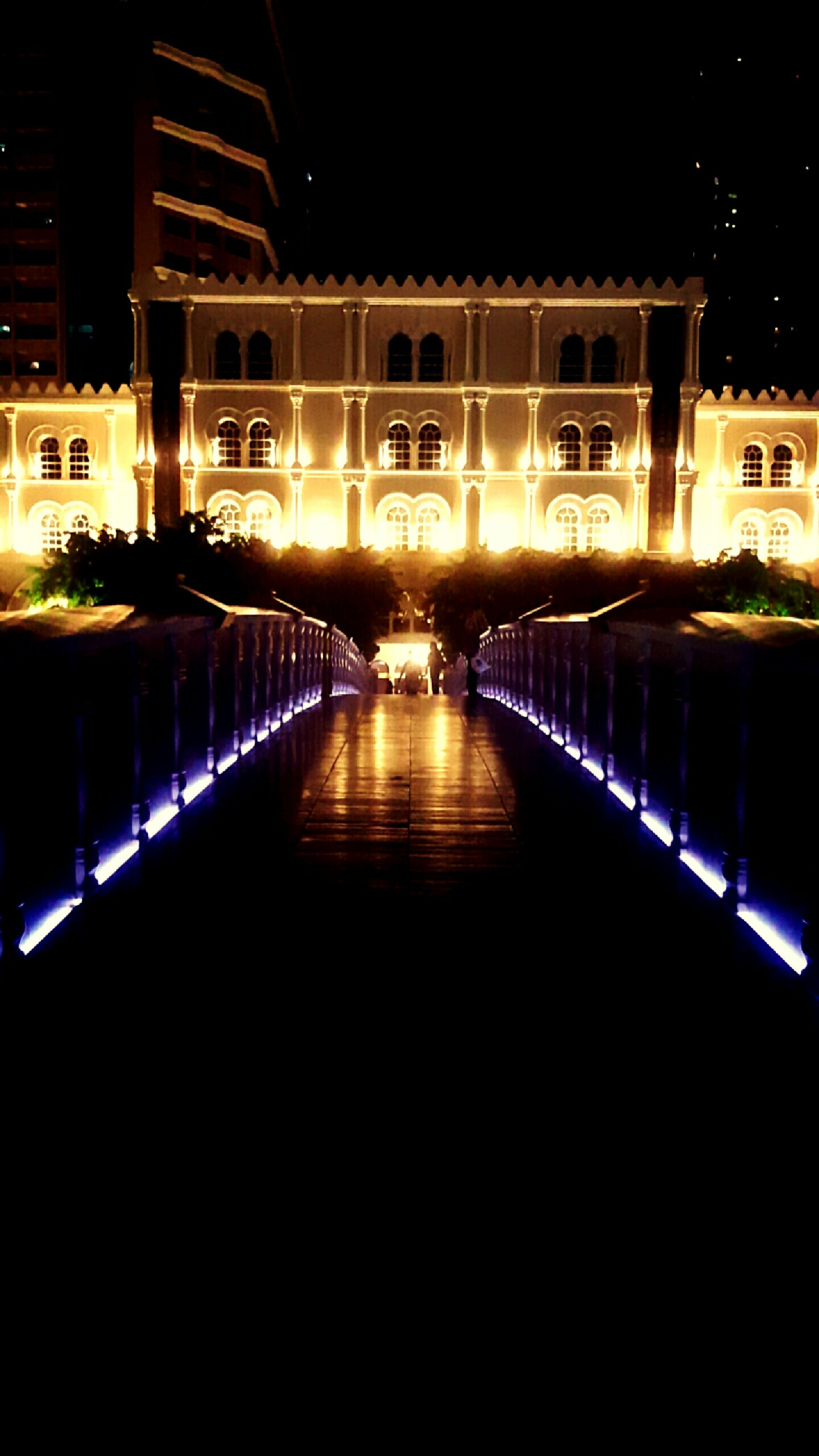 night, illuminated, reflection, architecture, water, built structure, building exterior, no people, connection, outdoors