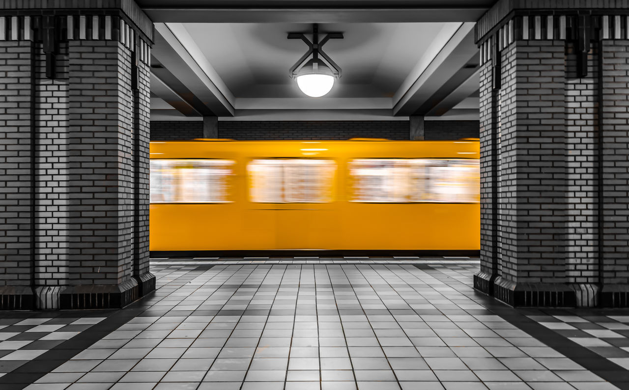 Architecture Blured Blurred Motion Built Structure Colorkey Day EyeEm Best Edits EyeEm Best Shots EyeEm Gallery EyeEmBestPics Illuminated Indoors  Keycolor Mode Of Transport No People Public Transportation Rail Transportation Subway Station Subway Train Transportation Travel Underground Station
