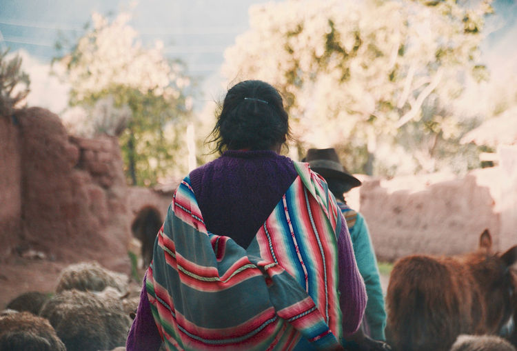 Casual Clothing Day Indigenous People Lifestyles Outdoors Peruvian Real People Rear View Standing Togetherness Warm Clothing Women