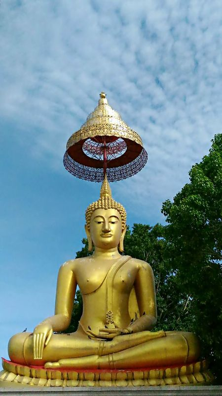 Buddha statue in tree shade Buddha Buddhism Buddhist Temple Religion Building Treeshade Buddhist Day Sky Buddha Statue ASIA National Concerntration Scene Cloud Cloudy Smile Faith Thailand Thai Culture Landmark Identity Buddhashand Worship Sitting