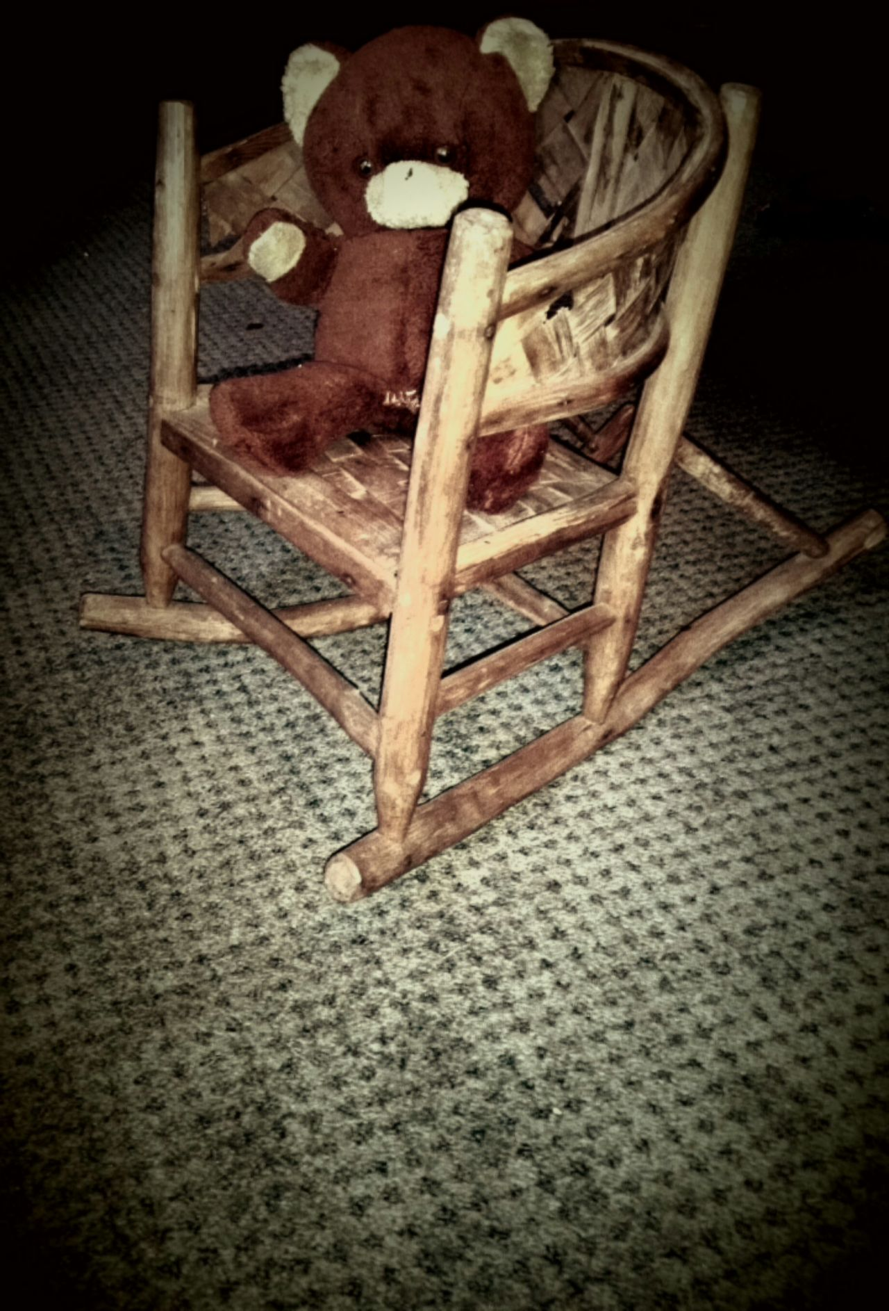 Antique Rockingchair Vintage Teddy Bear Old Children's Rocking Chair Children Toys Old Kids Toys Antique Furniture Antique Toys