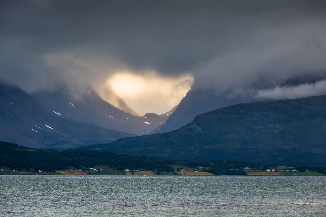 Arctic Beauty In Nature Cloud - Sky Day Dramatic Sky Fjord Lake Landscape Light And Shadow Lyngen Alps Mountain Mountain Range Nature No People Northern Norway Norway Outdoors Scenics Sky Sunset Tranquil Scene Tranquility Valley Village Water