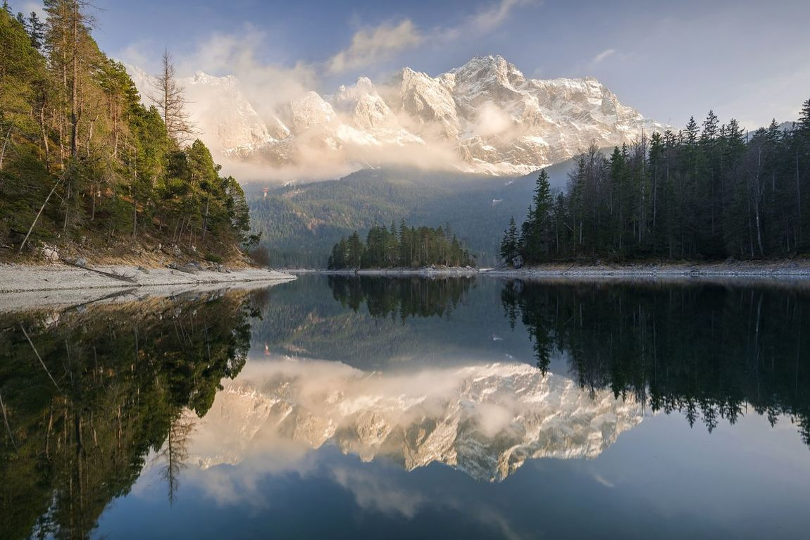Reflection Lake Mountain Water Tree Nature Beauty In Nature Cloud - Sky Mountain Range Forest Outdoors No People Landscape Sky Eibsee Zugspitze Garmisch-partenkirchen Garmischpartenkirchen Garmisch Bayern Bavaria