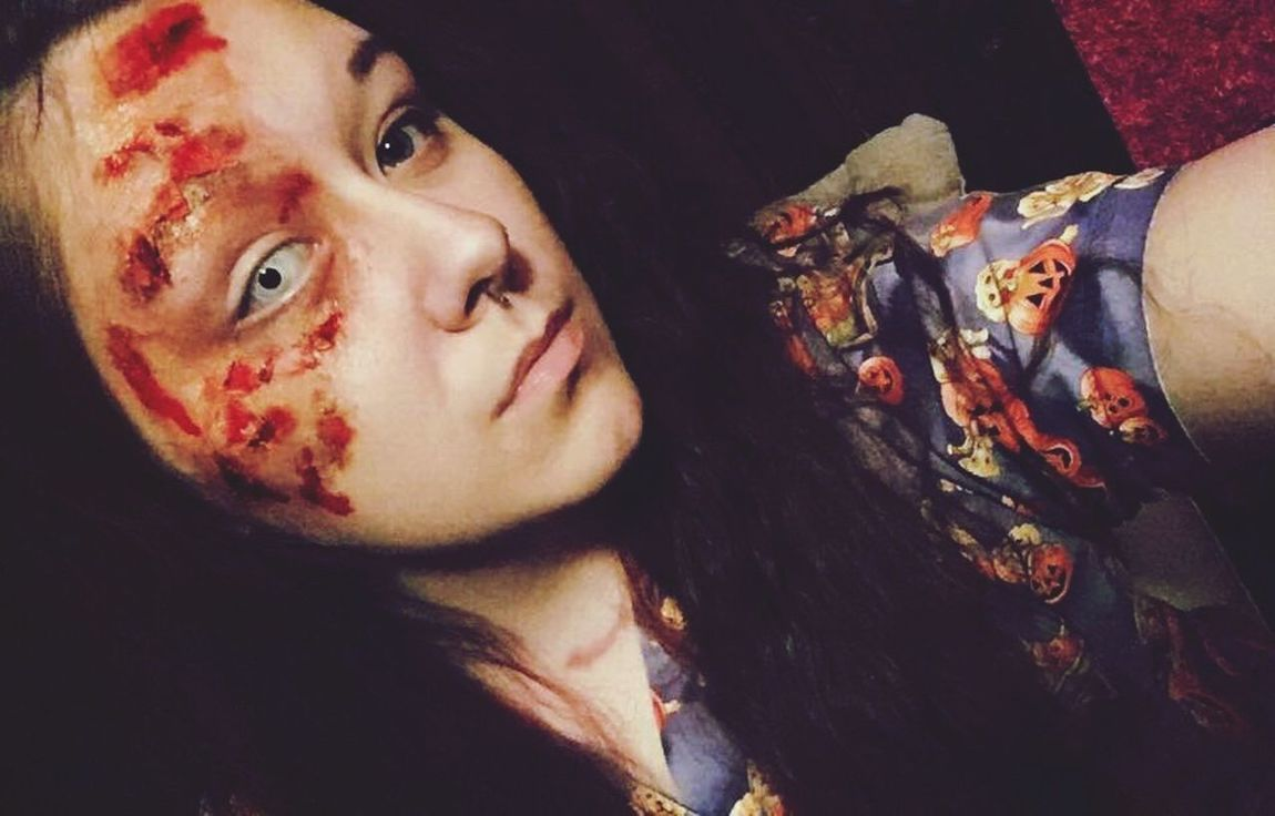 Wish I would have made it look like a huge bear scratch instead, but I'll just do that next time. 💀 FX Fx Makeup Scary Burn Cut Halloween Makeup Contacts White Contacts